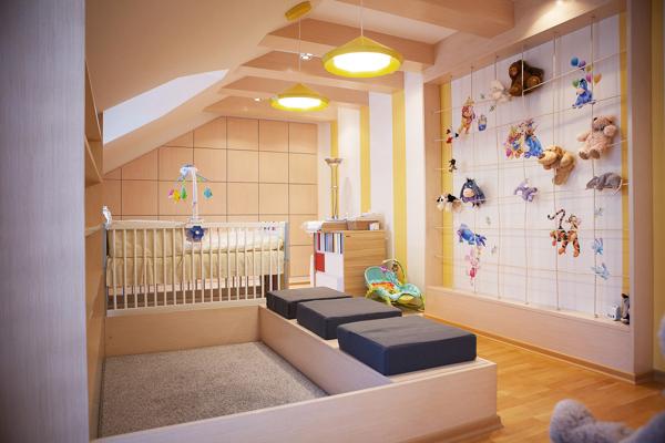 jasny pokój dla dziecka, na poddaszu, żółty, jak urządzić bawialnie dla dzieci, aranżacja pokoju dziecka,