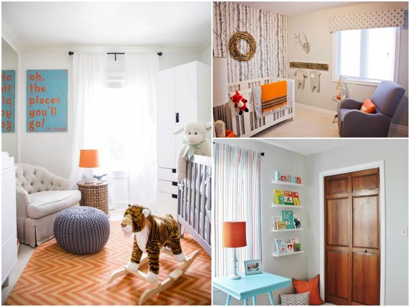 Pomarańczowe dodatki do pokoju niemowlaka, dziecka, chłopca