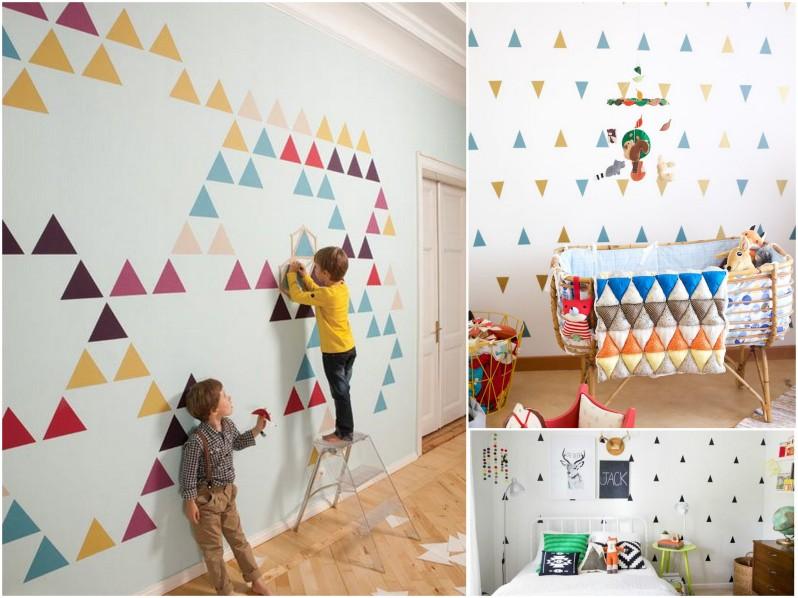 tapeta w trójkąty do pokoju dziecka
