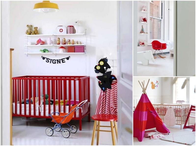 czerwony pokój dziecka, czerwone ddoatki dla dziecka, czerwone tekstylia, czerwony pokój dla dziewczyny, czerwień w pokoju dziecka