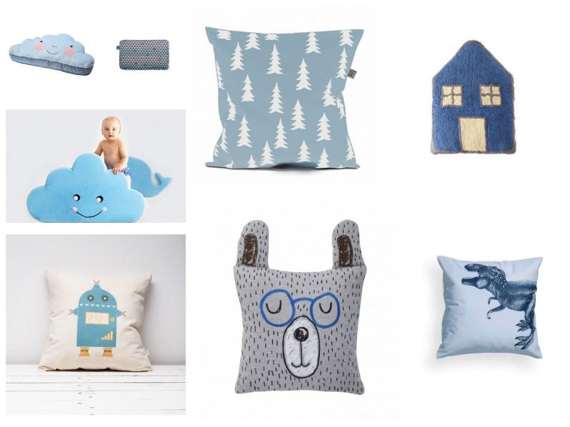 poduszki dziecięce, poduszki dla dzieci, poduszki do pokoju dziecka, niebieska poduszka dla dzieci