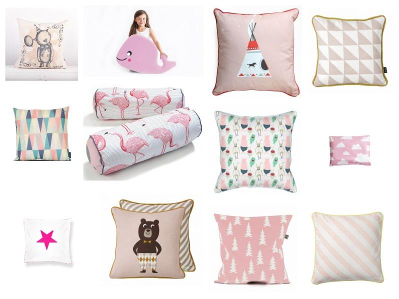 poduszki dziecięce, poduszki do pokoju dziecka, różowe poduszki, różowe poduszki do pokoju dziecka